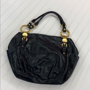 B. Makowsky Black Leather Shoulder Hobo Bag
